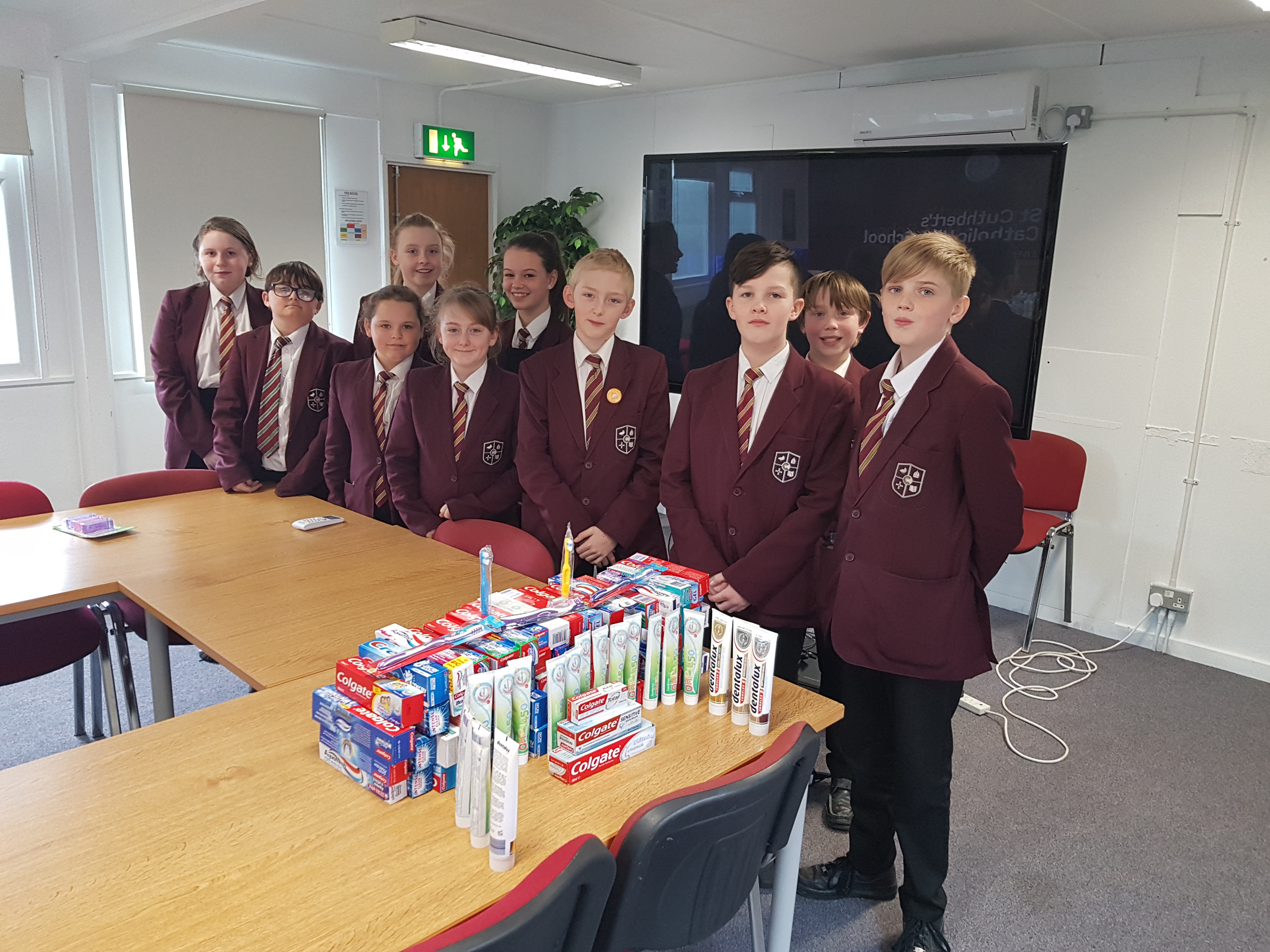 Year 7s collected toothpastes