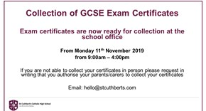 GCSE Certificates ready for collection